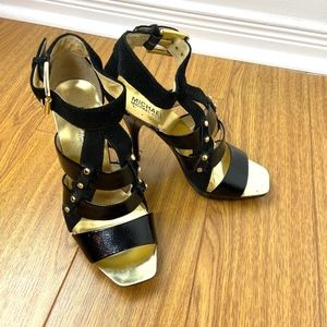 Michael Kors Black and Gold Leather Platform Heels